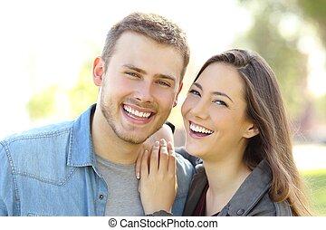 parfait, pose couples, dents, sourire, blanc