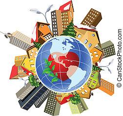 parfait, précis, machine., impact, humain, la terre, population, mondiale