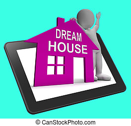 parfait, prope, tablette, maison, concevoir, conclusion, maison, rêve, ou, spectacles