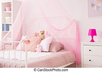 parfait, rose, girl, chambre à coucher