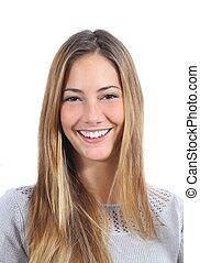 parfait, sourire, femme, jeune, portrait