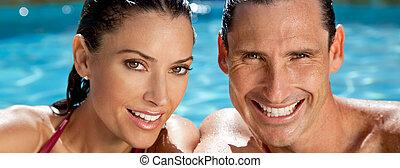 parfait, sourires, délassant, panorama, couple, dents, piscine, natation