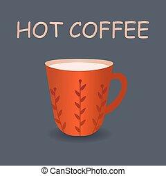 parfait, steam., café, illustration., tasse, vecteur, rouges
