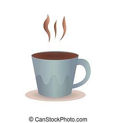 parfait, steam., tasse à café, illustration, vecteur