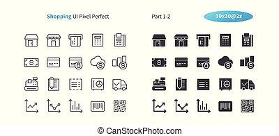 parfait, toile, 1-2, achats, icônes, simple, 2x, 30, pictogramme, ligne, vecteur, solide, well-crafted, partie, grille, mince, graphiques, ui, apps., pixel, minimal