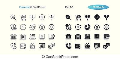 parfait, toile, 30, financier, pictogramme, simple, 2x, 1-3, icônes, ligne, vecteur, solide, well-crafted, partie, grille, mince, graphiques, ui, apps., pixel, minimal