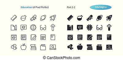 parfait, toile, 30, pictogramme, simple, 2x, icônes, ligne, vecteur, 2-2, solide, well-crafted, partie, grille, mince, graphiques, ui, apps., education, pixel, minimal