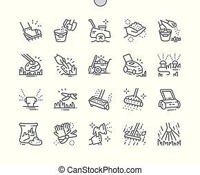 parfait, toile, pelouse, vecteur, pictogramme, icônes, ...