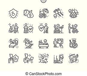 parfait, toile, vecteur, pictogramme, icônes, simple, incapacité, 30, 2x, assurance, well-crafted, apps., grille, mince, graphiques, ligne, pixel, minimal