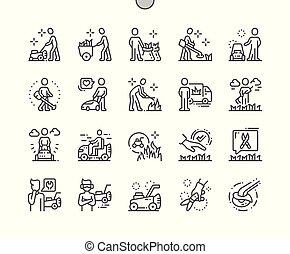 parfait, toile, vecteur, pictogramme, icônes, simple, ouvriers, 30, 2x, découpage, well-crafted, apps., grille, mince, graphiques, ligne, herbe, pixel, minimal