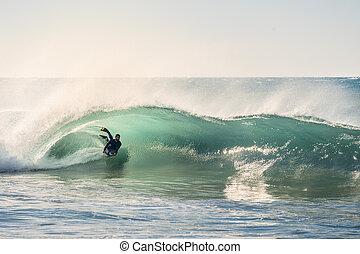 parfait, vague, coucher soleil, équitation, baril, surfeur