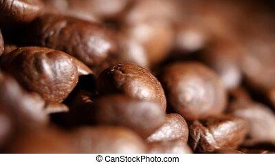 parfumé, café, brun, grand, haut, rotating., tas, rôti, fin,...