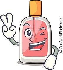 parfum, deux, botlle, forme, doigt, dessin animé