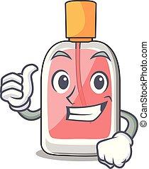 parfum, haut, botlle, forme, pouces, dessin animé