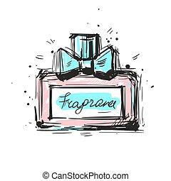 parfum., illustration., de, 香水, ベクトル, toilette., びん, eau