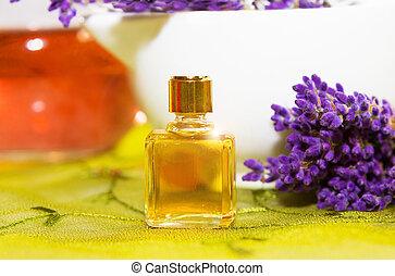 parfum, met, bloesems, van, lavendel