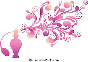 parfume flaske, hos, blomstrede, duft