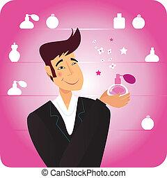 parfume, -, mand, gave, lyserød
