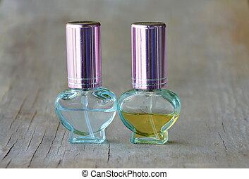 parfume, på, træagtig planke