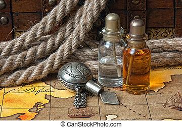parfym, liten medicinflaska, oljor