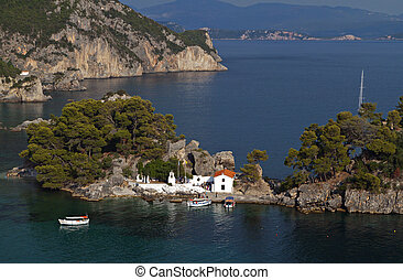 Parga bay in Greece - Panagia isle at Parga near Syvota in...