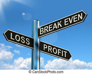 pari, perdita, profitto, signpost, o, rottura, guadagni, ...