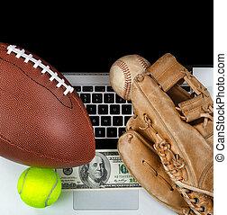 parier, sports, argent, fond, informatique