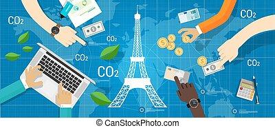parigi, accordo, clima, accordo, carbonio, emissione,...