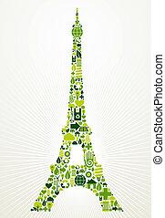 parigi, andare, verde, concetto, illustrazione