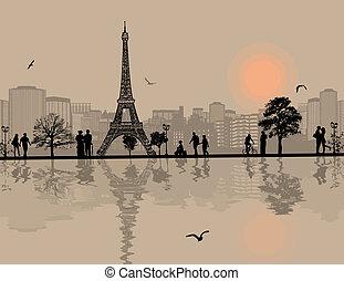 parigi, cityscape, silhoue, persone