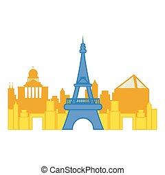 parigi, cityscape, torre, eiffel, colorato