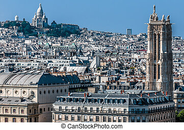 parigi, cityscape, vista, aereo, francia