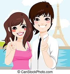 parigi, coppia, luna miele, asiatico