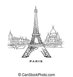 parigi, famoso, architettura, francia