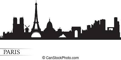 parigi, fondo, orizzonte, città, silhouette