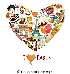 parigi, manifesto, turistico