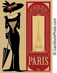 parigi, moda, modo, carattere, retro
