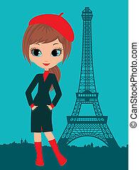 parigi, ragazza, carino