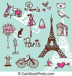 parigi, simboli, -, fondo, scarabocchiare