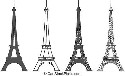 parigi, torre, eiffel, silhouette, vettore