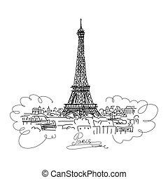 parigi, tuo, eifel, schizzo, disegno, cityscape, tower.