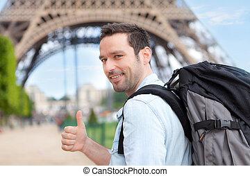parigi, viaggiatore, giovane, attraente