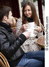 parigino, coppia, giovane, strada, caffè, felice