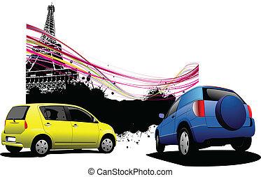 parijs, auto's, beeld, twee, backgrou