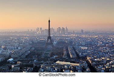 parijs, eiffel, -, ondergaande zon , cityscape, toren