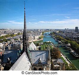 parijs, france., seine rivier, panorama