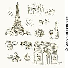 parijs, freehand, tekening, items