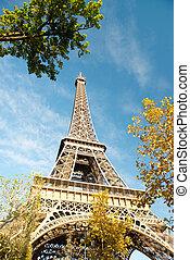 parijs, herfst, toren, eiffel, -