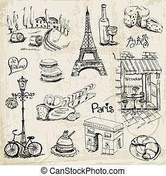parijs, illustratie, set, -, voor, ontwerp, en, plakboek, -, in, vector