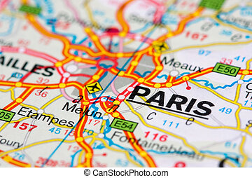 parijs, kaart, ongeveer, straat